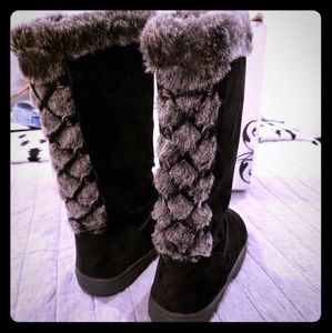 Rampage faux fur knee high boots